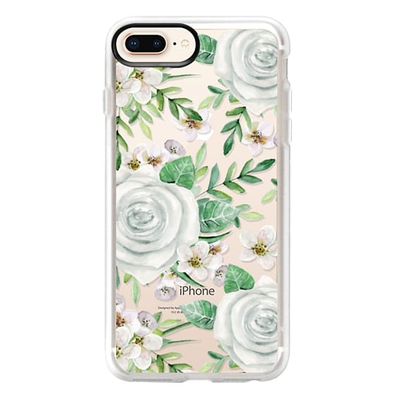 iPhone 8 Plus Cases - White roses. Watercolor pattern