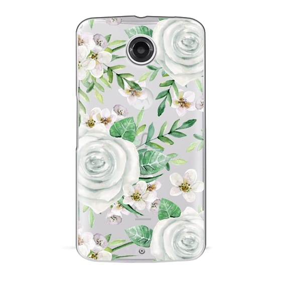 Nexus 6 Cases - White roses. Watercolor pattern