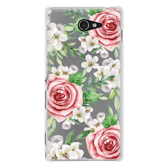 Sony M2 Cases - Red roses. Watercolor.