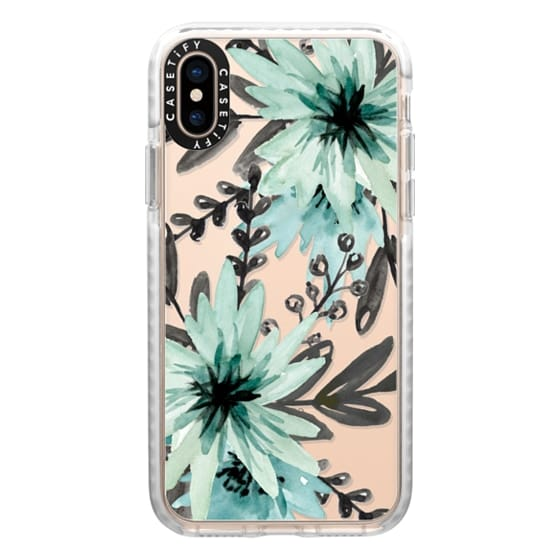 iPhone XS Cases - Blue asters. Watercolor