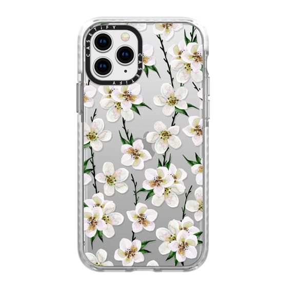 iPhone 11 Pro Cases - White flowers and green branches. Watercolor
