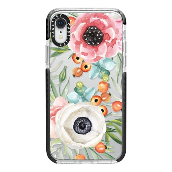 iPhone XR Cases - Watercolor flowers and berries