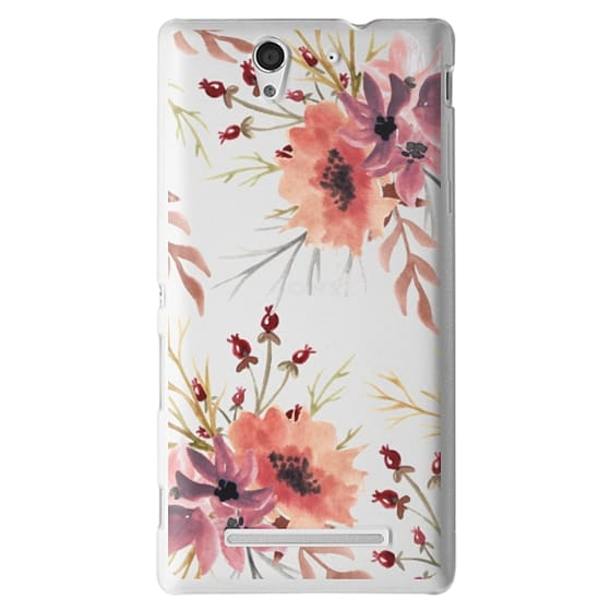 Sony C3 Cases - Autumn flowers- Watercolor