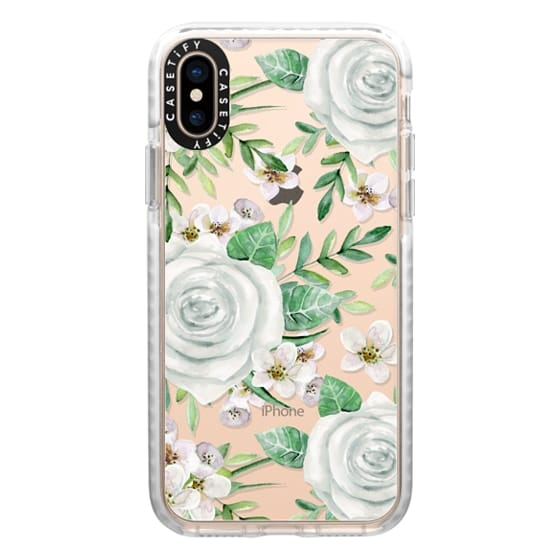 iPhone XS Cases - White roses. Watercolor pattern