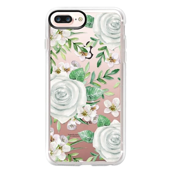 iPhone 7 Plus Cases - White roses. Watercolor pattern