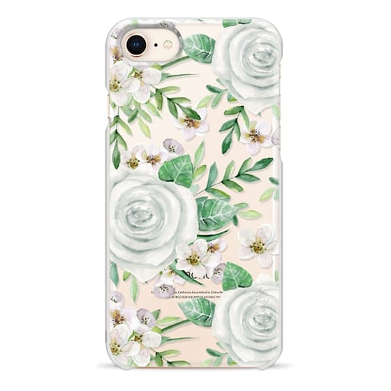 iPhone 8 Cases - White roses. Watercolor pattern