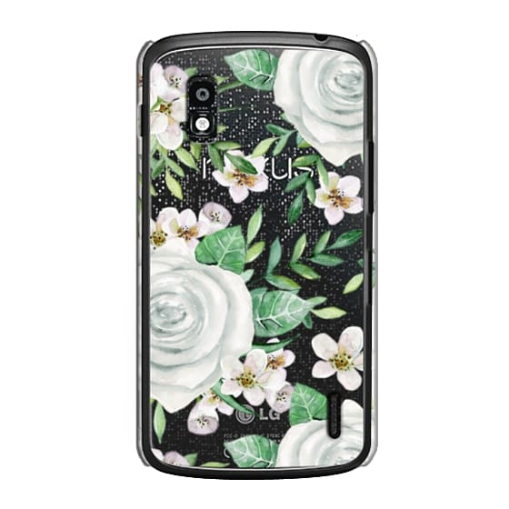 Nexus 4 Cases - White roses. Watercolor pattern