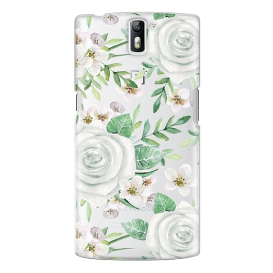 One Plus One Cases - White roses. Watercolor pattern
