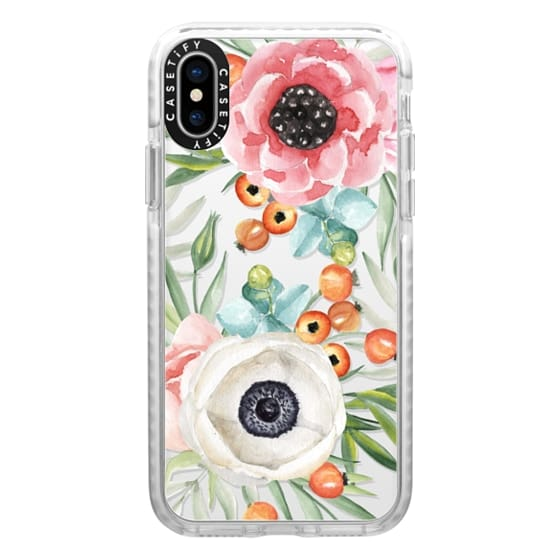 iPhone X Cases - Watercolor flowers and berries