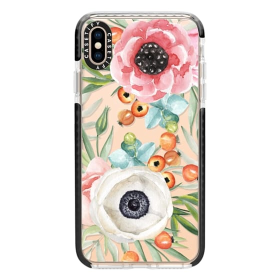 iPhone XS Max Cases - Watercolor flowers and berries