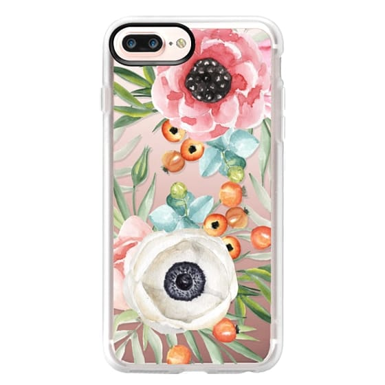iPhone 7 Plus Cases - Watercolor flowers and berries