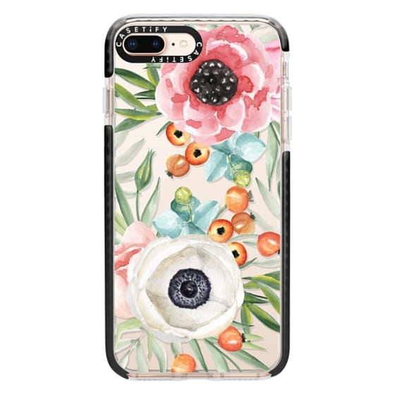 iPhone 8 Plus Cases - Watercolor flowers and berries