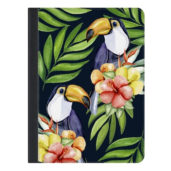 9.7-inch iPad Covers - Watercolor toucans. Dark blue