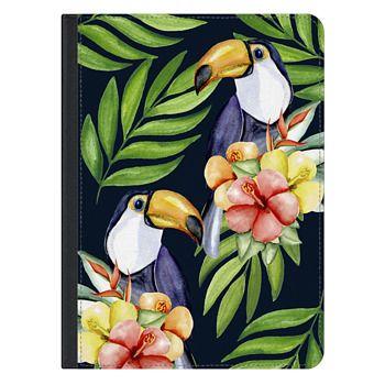 iPad Pro 12.9-inch Case - Watercolor toucans. Dark blue