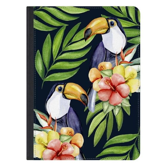 12.9-inch iPad Pro Covers - Watercolor toucans. Dark blue