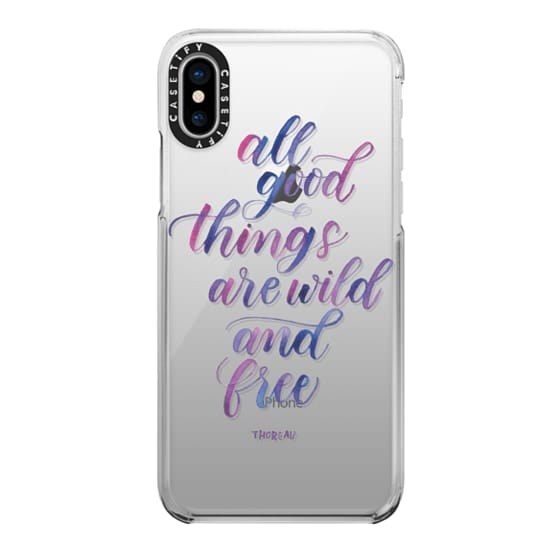 iPhone X Cases - All Good Things Are Wild And Free (Purple) - Thoreau