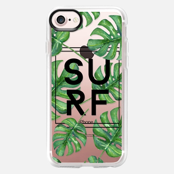 Surf Tropical Leaves Typography // Palm Leaves Transparent - Wallet Case
