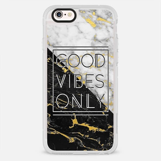 Good Vibes Only - Black - White Marble with Gold Flecks - New Standard Case