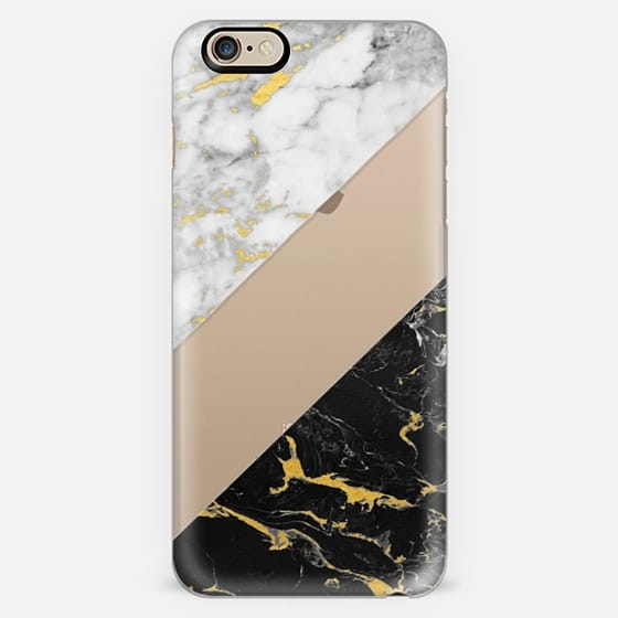 Mixed Marble / Gold Flecked Black & White Marble -