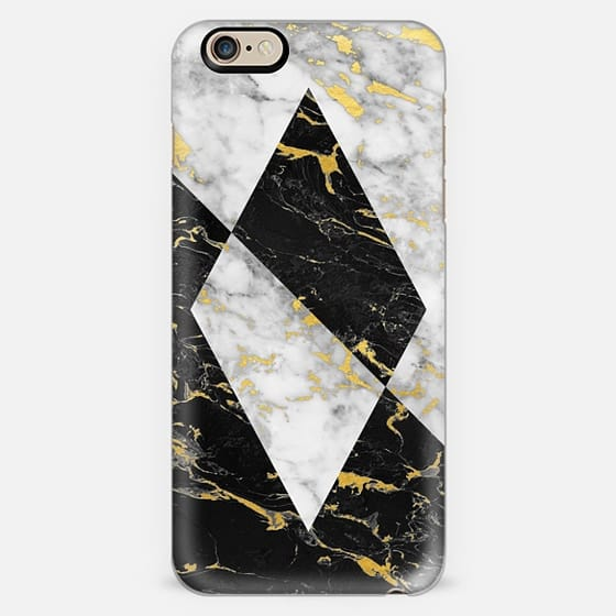 Mixed Gold Flecked Black & White Marble Geometry // Diamond -