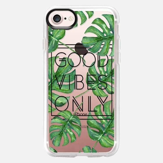 Good Vibes Only Tropical Leaves // Palm Leaves Transparent Typography - Classic Grip Case