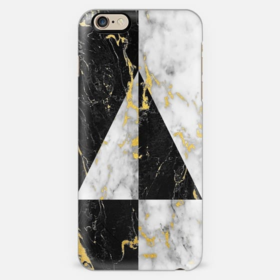 Gold Flecked Black & White Marble Geometry // Triangle -