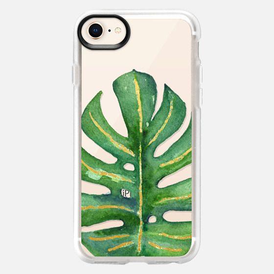 Gold Veined Palm Leaf // Tropical Watercolor Transparent - Snap Case