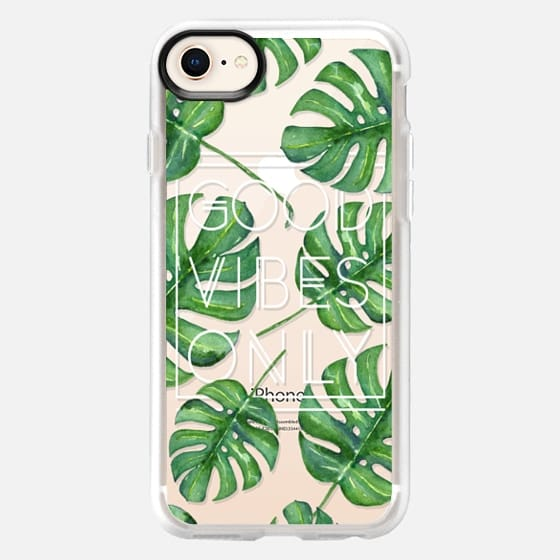 Good Vibes Only Palm Leaves - White Transparent - Snap Case