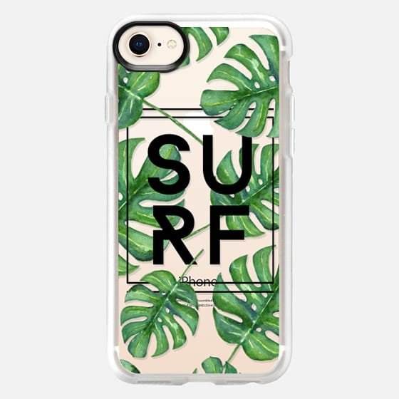 Surf Tropical Leaves Typography // Palm Leaves Transparent - Snap Case