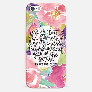 iPhone 5s Case Proverbs 31:25 // Floral Calligraphy
