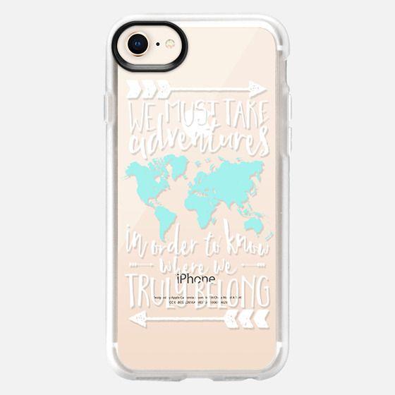 Adventures World Map Quote // White & Aqua Transparent - Snap Case