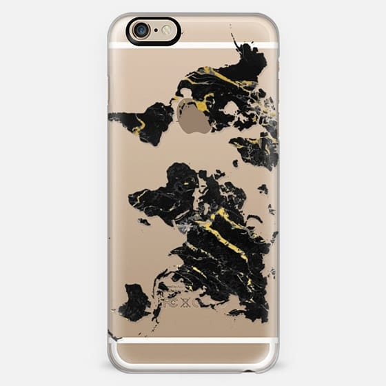 Black Marble World Map // Gold Flecks -