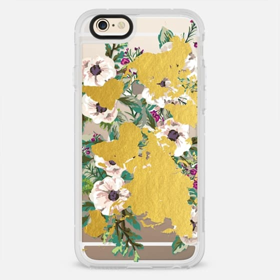 Floral Explosion // Gold World Map - New Standard Case