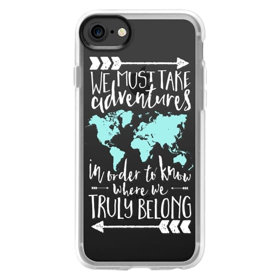 Impact iPhone 8 Case - Adventures World Map Quote // White & Aqua  Transparent