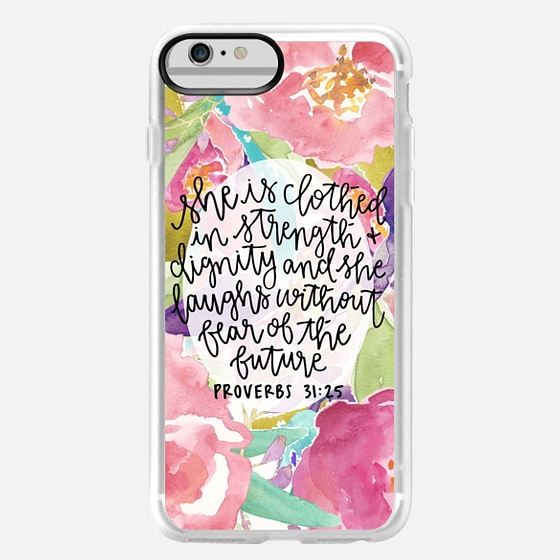 iPhone 6 Plus Capa - Proverbs 31:25 // Floral Calligraphy