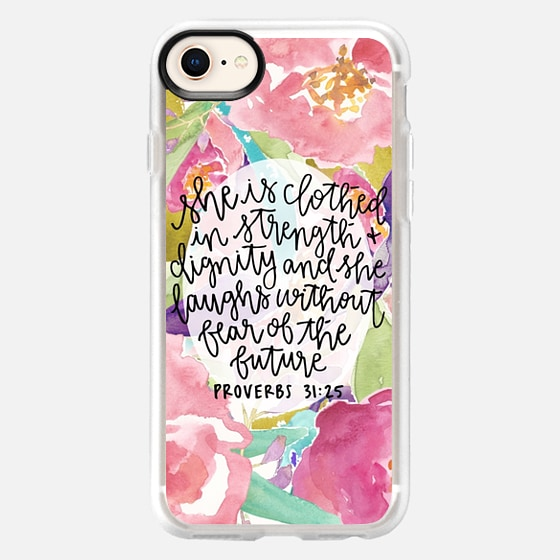 iPhone 8 Case - Proverbs 31:25 // Floral Calligraphy