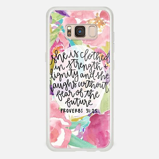 Galaxy S8 Coque - Proverbs 31:25 // Floral Calligraphy