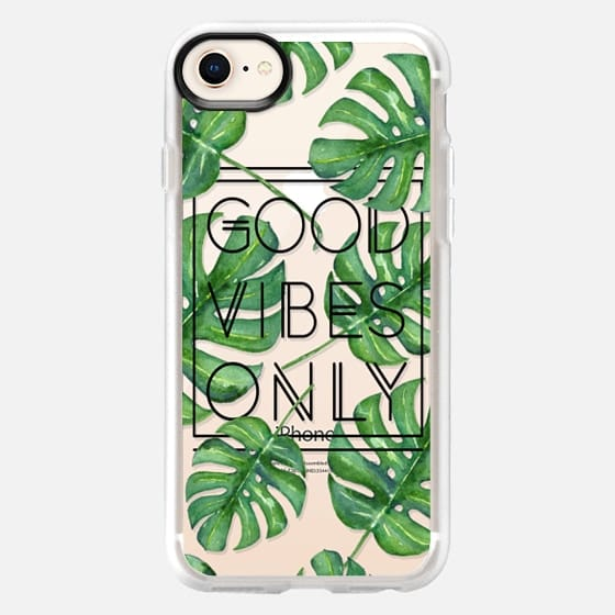 Good Vibes Only Tropical Leaves // Palm Leaves Transparent Typography - Snap Case