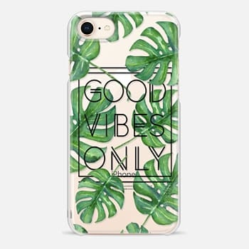 iPhone 8 Case Good Vibes Only Tropical Leaves // Palm Leaves Transparent Typography