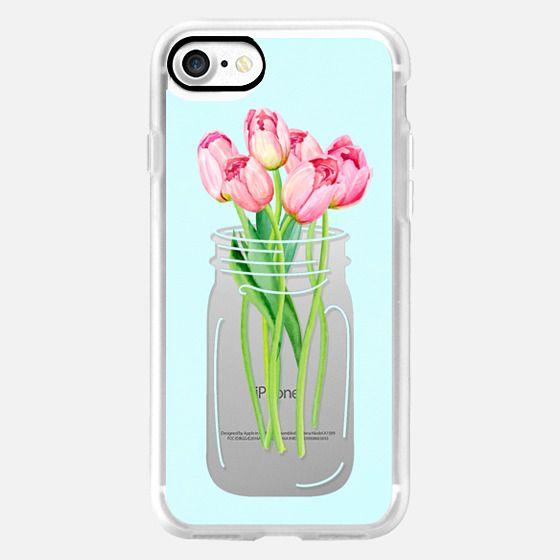 Mason Jar with Pink Tulips -