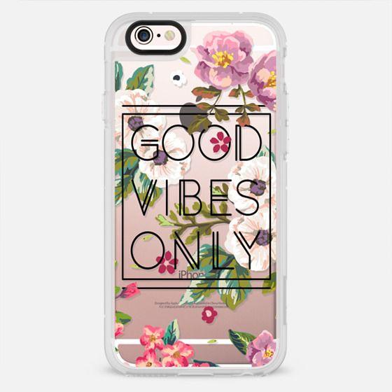 Good Vibes Only Floral // Black & Transparent - New Standard Case
