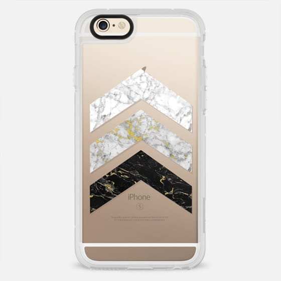 Gold Flecked Marble Chevrons / Transparent - New Standard Case