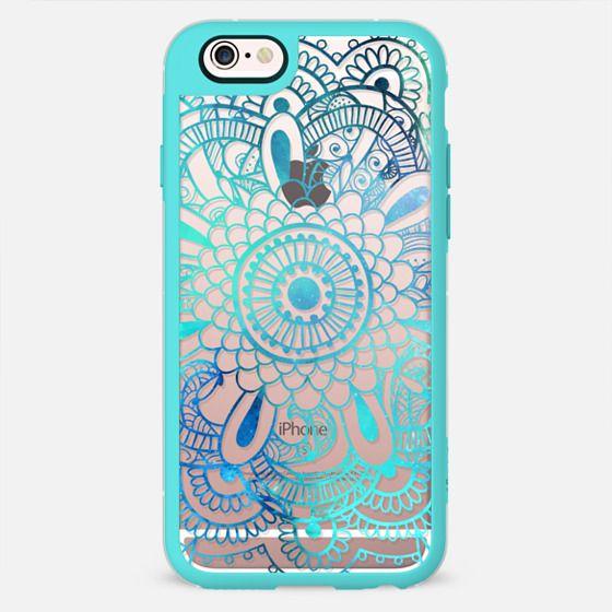 Mandala Aqua + Teal Transparent -
