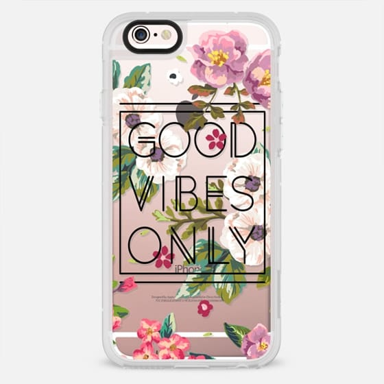 Good Vibes Only Floral // Black & Transparent