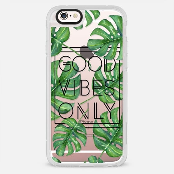 Good Vibes Only Tropical Leaves // Palm Leaves Transparent Typography