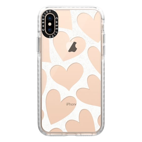 iPhone XS Cases - Hearts - Transparent