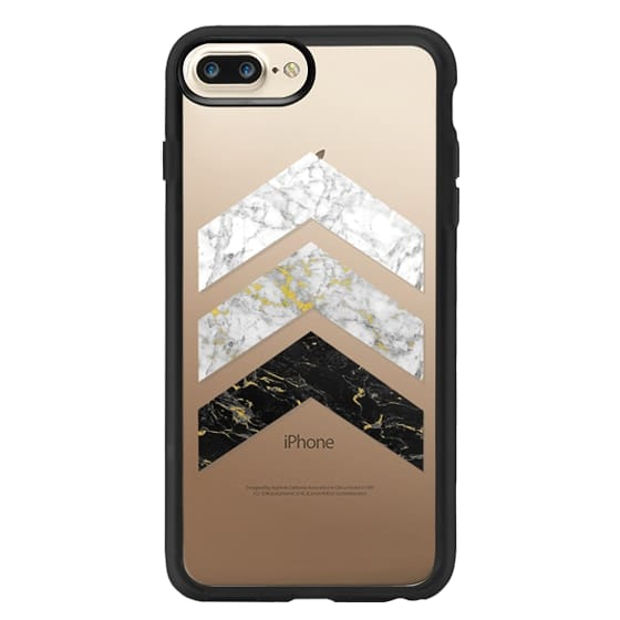 iPhone 7 Plus Cases - Gold Flecked Marble Chevrons / Transparent