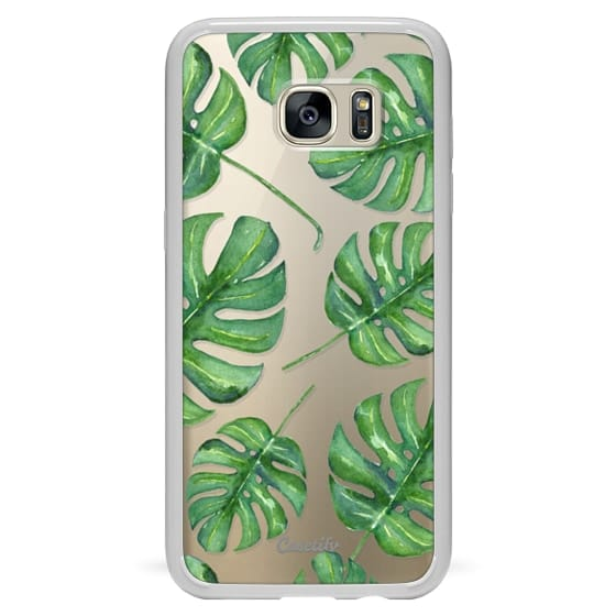 Samsung Galaxy S7 Edge Cases - Tropical Palm Leaves Pattern // Watercolor Transparent