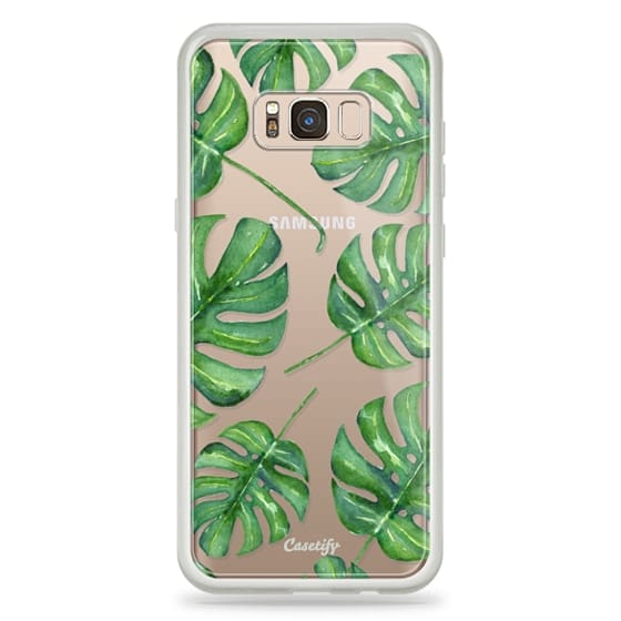 Samsung Galaxy S8 Plus Cases - Tropical Palm Leaves Pattern // Watercolor Transparent