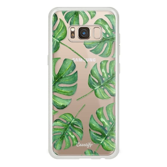 Samsung Galaxy S8 Cases - Tropical Palm Leaves Pattern // Watercolor Transparent